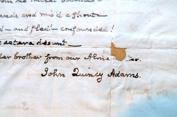 KEN YUSZKUS/Staff photo.  The signature of John Quincy Adams on a 3 page letter from 1836.     6/13/14.