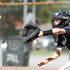 Danvers National catcher Calvin Mansfield receives a throw at the plate during practice at Tapley Field in Danvers on Thursday afternoon. DAVID LE/Staff photo. 6/19/14.