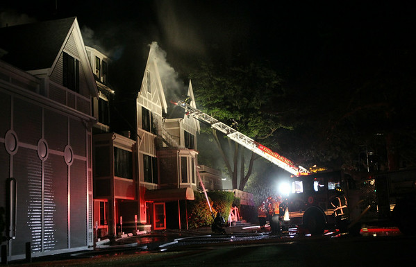 A 3-alarm fire broke out at the Eastern Yacht Club in Marblehead early Friday morning. DAVID LE/Staff photo. 6/13/14