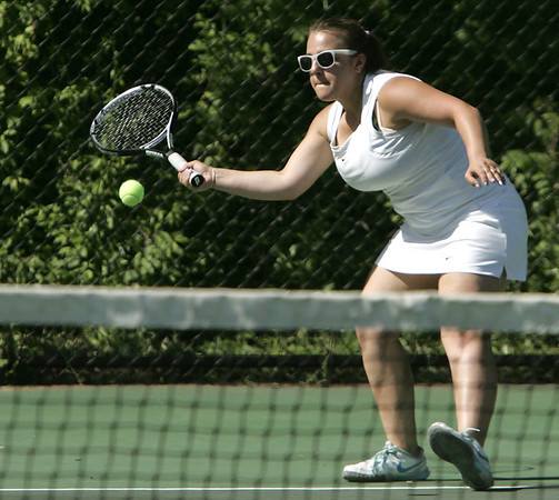 KEN YUSZKUS/Staff photo. Swampscott singles player Veronica Pyatigorskaya on the court at the Austin Prep at Swampscott girls tennis state tournament match.  6/2/14.