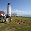 KEN YUSZKUS/Staff photo.   Arriving on Bakers Island visitors explore the Bakers Island Light Station.   6/30/15