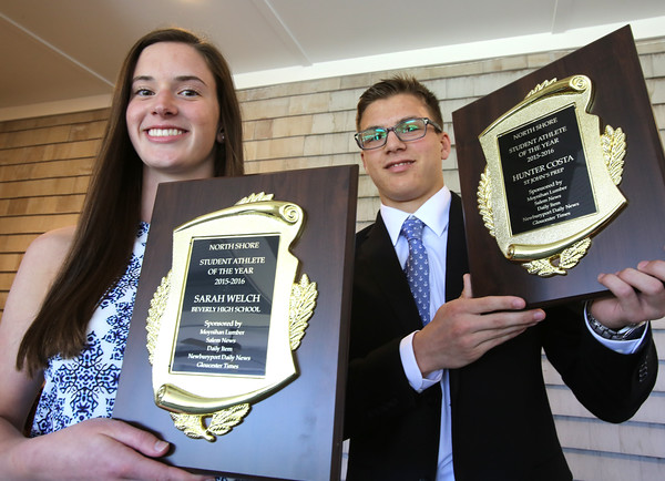 KEN YUSZKUS/Staff photo.    Beverly High School's Sarah Welch and St. John's Prep's Hunter Costa of Danvers are the Annual Moynihan Lumber North Shore Student-Athletes of the Year.    06/14/16