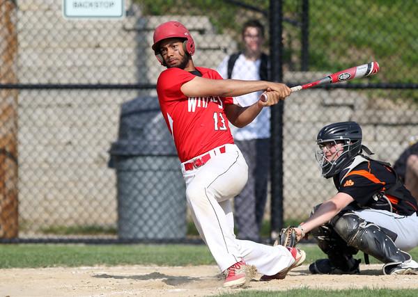 DAVID LE/Staff photo. Salem first baseman and pitcher Sam Arias Ramirez. 5/20/16.
