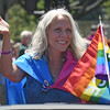 Robyn Ochs, One of the North Shore Pride 2016  Fabulous Five honorees acknowledges the crowd while in the parade.<br /> <br /> Photo by joebrownphotos.com