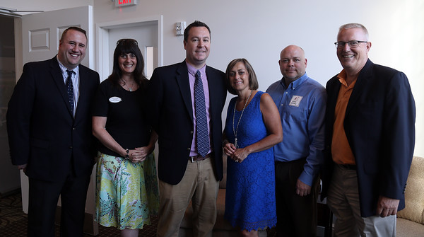 DAVID LE/Staff photo. From left, Erik Smith, Vice President of the North Shore Chamber of Commerce, Leslie Gould, President of the Lynn Area Chamber of Comerce, Stve Crowder, of the North Shore Chamber of Commerce, Deanne Healey, President of the Peabody Area Chamber of Commerce, John Somes, Executive Director of the Greater Beverly Chamber of Commerce, and Rinus Oosthoek, Executive Director of the Salem Chamber of Commerce, at a multi-chamber after hours networking event held at the recently renovated Ferncroft Country Club in Middleton on Thursday afternoon. 6/30/16.