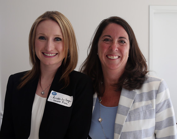 DAVID LE/Staff photo. Arielle Lesage, of Salem 5, and Brenda Campbell, of Endicott College, at a multi-chamber after hours networking event held at the recently renovated Ferncroft Country Club in Middleton on Thursday afternoon. 6/30/16.