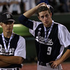 DAVID LE/Staff photo. Danvers senior Ryan McGinnis, left, and junior Dean Borders (9) are left scratching their heads after a 1-0 Falcons loss to Dighton-Rehoboth in the D2 State Final. 6/15/16.