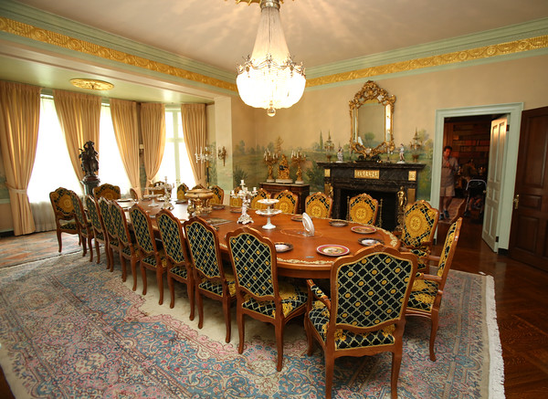 KEN YUSZKUS/Staff photo.     The formal dinning room at the Henry Audesse mansion in Wenham.     06/28/16