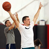 DAVID LE/Staff photo. Portland Trail Blazer guard Pat Connaughton reacts after one of his campers hit a jumper during a pickup game at the end of camp on Tuesday afternoon. 6/28/16.