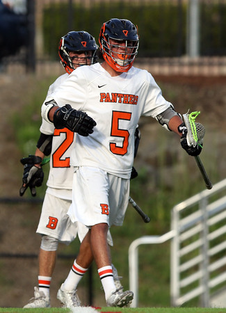 DAVID LE/Staff photo. Beverly junior Sam Abate celebrates one of his second half goals against Melrose on Tuesday afternoon. 6/7/16.