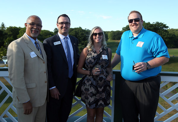 DAVID LE/Staff photo. From left, Thomas MacDonald, Director of Sales for the Hawthorne Hotel, Jason Consalvo, Vice President and Marketing Manager of Salem Five, Audrey Boyer, of PC Dynamix, and George McCracken, of PC Dynamix, at a multi-chamber after hours networking event held at the recently renovated Ferncroft Country Club in Middleton on Thursday afternoon. 6/30/16.