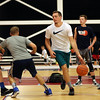 "DAVID LE/Staff photo. Portland Trailblazers guard and former St. John's Prep and Notre Dame standout, Pat Connaughton runs through a pick and roll drill with coach Mike Crotty, center, as campers look on during the Pat Connaughton ""With Us"" Camp on Tuesday afternoon. 6/28/16."