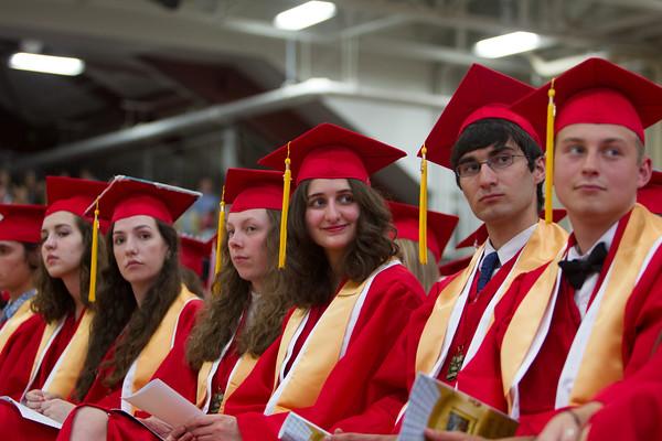 Seniors react to speeches at Masconomet Regional High School graduation, Friday, June 3rd, 2016. JARED CHARNEY/Photo.<br /> June 3, 2016