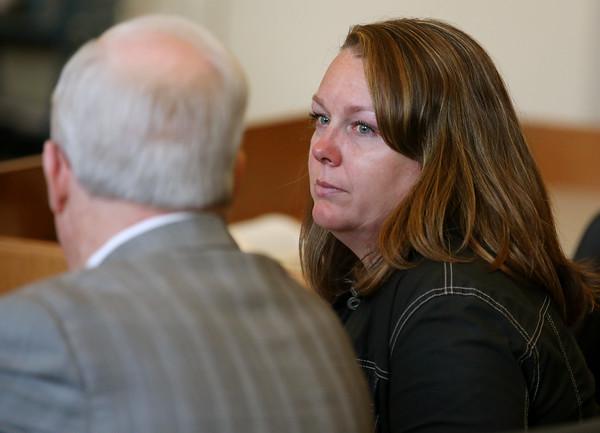 KEN YUSZKUS/Staff photo.   Lisa Haney Bilodeau plead guilty of faking her credentials to obtain a school nurse's job in Haverhill in Salem Superior Court.        06/17/16