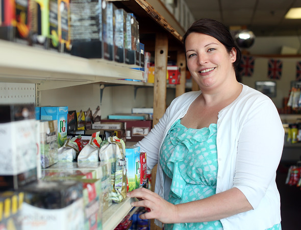 DAVID LE/Staff photo. Amanda Farrelly is the owner of of Amanda's UnionJack on Route 1 in Peabody. She sells many imported British items in her shop. 6/24/16.