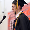 DAVID LE/Staff photo. Beverly High School Valedictorian Drew Powers makes his remarks at graduation on Sunday. 6/5/16.