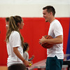 "DAVID LE/Staff photo. A former St. John's Prep and Notre Dame standout and current Portland Trailblazers guard Pat Connaughton, chats with recent Danvers High School graduate Devon Walsh, a counselor at Connaughton's ""With Us"" camp, on Tuesday afternoon.6/28/16."