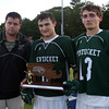 DAVID LE/Staff photo. Pentucket head coach Dan Leary with senior captains Brandon Barlow and Nick Arcadipane. 6/10/16.