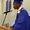 """DAVID LE/Staff photo. Danvers graduate Tre Crittendon delivered a heartfelt speech """"Family,"""" to his classmates, thanking the Town of Danvers for providing family during hard personal times. 6/11/16."""