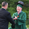 Accepting his diploma from Essex Technicl School principal Brad Morgan (l) is Swampscott's Daniel Hugh Dumais who sports a rather jaunty addition to his mortarboard.<br /> <br /> Photo by joebrownphotos.com