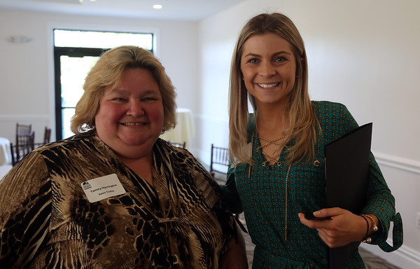 DAVID LE/Staff photo. Tammy Harrington, of Salem Trolley, left, and Alexandra Cardish, of the Ferncroft Country Club, at a multi-chamber after hours networking event held at the recently renovated Ferncroft Country Club in Middleton on Thursday afternoon. 6/30/16.