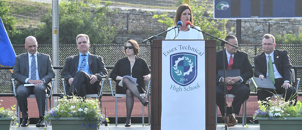 Melissa Teixeira Chaior of the Essex North Shore Agricultural and tech School District School Comm of Gloucester welcomes students to the 2016 graduation at the school.<br /> <br /> Phot by joebrownphotos.com