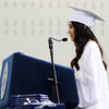 DAVID LE/Staff photo. Swampscott High School graduate and senior class vice president Celine Vu delivers her Welcome Address on Sunday afternoon. 6/5/16.