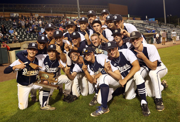 DAVID LE/Staff photo. The Danvers Falcons captured the D2 North Title with a 9-4 win over Reading at LeLacheur Park in Lowell on Sunday evening. 6/11/16.
