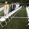 KEN YUSZKUS/Staff photo.    Valedictorian Kyra Bresnahan leads one half of the Peabody Veterans Memorial High School graduates  during the processional.       06/03/16