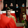 PAUL BILODEAU/Staff photo. A marine cadet with his rifle during the playing of the National Anthem during Salem High School's graduation ceremony in the high school's field house.