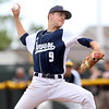 DAVID LE/Staff photo. Danvers junior starting pitcher Dean Borders fires a pitch against North Andover in the D2 North semifinal. 6/9/16.
