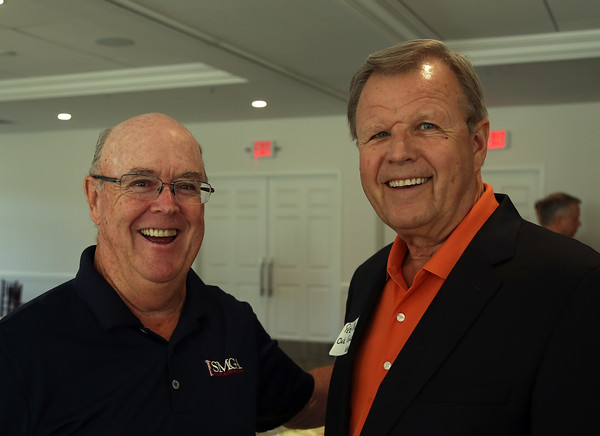 DAVID LE/Staff photo. Jerry Shanahan, left, of The Salute Military Golf Association (SMGA), and Peter Mackin, CEO, of Oak Peak Advisory Group, at a multi-chamber after hours networking event held at the recently renovated Ferncroft Country Club in Middleton on Thursday afternoon. 6/30/16.