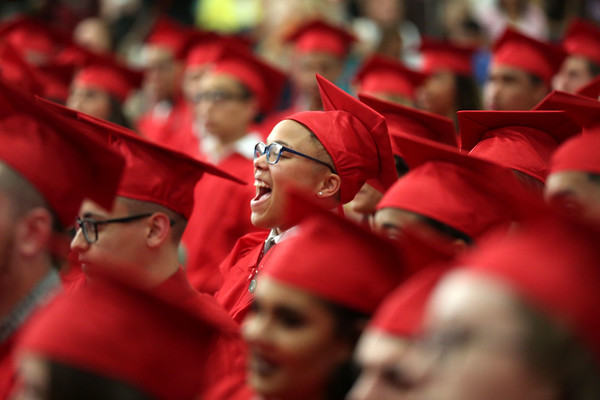 HADLEY GREEN/ Staff photo<br /> Graduates cheer during the presentation of diplomas. 6/02/17