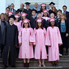 HADLEY GREEN/ Staff photo<br /> Northshore Recovery High School graduates stand outside the Second Congregational Church in Beverly before their graduation ceremony. 6/07/17