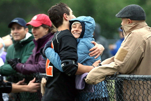 HADLEY GREEN/ Staff photo<br /> Beverly lacrosse player Tommy Adams (32) hugs Tyler Orlandella, also of Beverly, after the team beat Winchester at the Division 2 North semifinals boys lacrosse game at the Knowlton Field in Winchester. 6/06/17