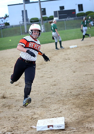 HADLEY GREEN/ Staff photo<br /> Beverly's Julia Pitman (7) rounds third base on her way home at the Beverly v. Billerica Division 1 North first round playoff game at the Innocenti Field in Beverly. 6/03/17