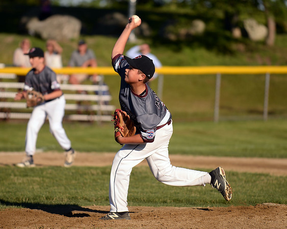 RYAN HUTTON/ Staff photo<br /> Gloucester's Zach Morris fires one in during the bottom of the fourth inning of Wednesday's game against Danvers at Boudreau Field in Gloucester.
