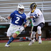 HADLEY GREEN/ Staff photo<br /> South's Anthony DelVeccio (9) plays defense on North's  Eddie Sullivan (2) during the Agganis boys lacrosse all-star game at the Manning Field in Lynn. 6/28/17