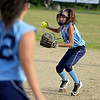 RYAN HUTTON/ Staff photo<br /> Peabody's Hailey Roach readies the throw to Gina Terazzano at first in the top of the third inning of Thursday's game against Woburn at the Lt. Ross Park.