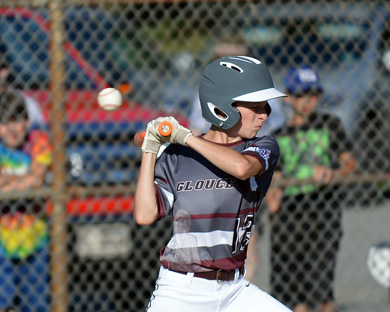 RYAN HUTTON/ Staff photo<br /> Gloucester's Tommy Elliott leans away from a high and inside ball during the top of the second inning of Wednesday's game against Danvers at Boudreau Field in Gloucester.