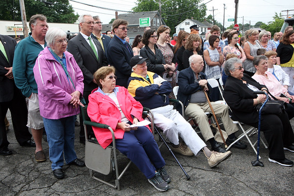 AMY SWEENEY/Staff photo. Family, friends and officials listen as speakers talk during the dedication. The building that houses Salem Fire Engine 5 was dedicated to Joseph O'Keefe, a beloved city official who died in September 2015. He had a long and celebrated tenure on City Council. O'Keefe also served as state fire marshal from 1977 to 1992.