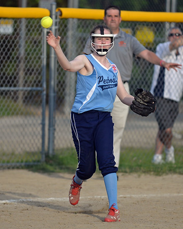 RYAN HUTTON/ Staff photo<br /> Peabody's Sarah Broughton fires the ball from third to first to try and make the out in the top of the fourth inning of Thursday's game against Woburn at the Lt. Ross Park.