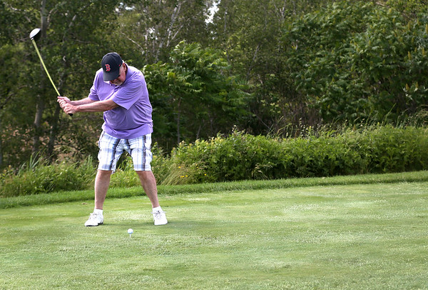 HADLEY GREEN/ Staff photo<br /> David McCaffrey of Lynn hits the ball at the The Meadow golf course in Peabody. 6/21/17