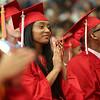 HADLEY GREEN/ Staff photo<br /> Graduates applaud senior orator Katherine Lima's speech at the Salem High School graduation ceremony at the Salem High field house. 6/02/17