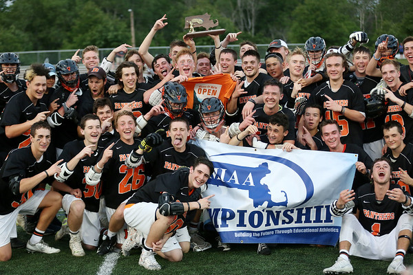 HADLEY GREEN/ Staff photo<br /> The Beverly boys varsity lacrosse team celebrates after their win against Wakefield in the Division 2 North championship. 6/10/17