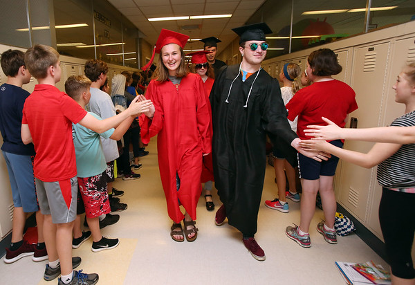 Marblehead High's graduating class on their Senior Walk