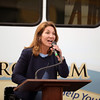 RYAN HUTTON/ Staff photo<br /> Lt. Governor Karyn Polito speaks at the Peabody Torigian Senior Center during a ceremony on Thursday to dedicate new vehicles that were bought with the help of the state Department of Transportation's Mobility Assistance Grant.