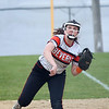HADLEY GREEN/ Staff photo<br /> Beverly first baseman Abi McGovern (21) throws to home base at the Beverly v. Billerica Division 1 North first round playoff game at the Innocenti Field in Beverly. 6/03/17