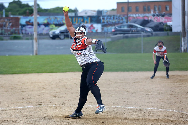 HADLEY GREEN/ Staff photo<br /> Beverly pitcher Rona Scott (34) winds up at the Beverly v. Billerica Division 1 North first round playoff game at the Innocenti Field in Beverly. 6/03/17