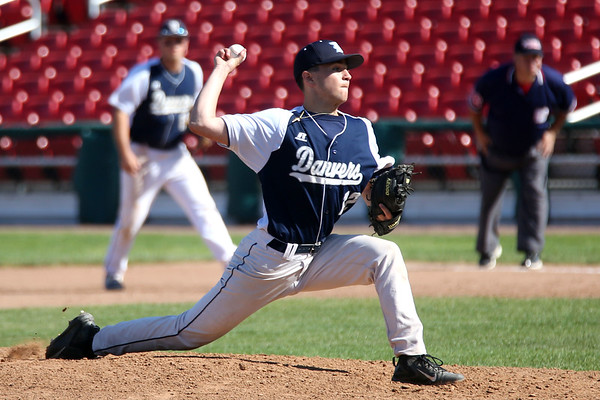 HADLEY GREEN/ Staff photo<br /> Danvers' pitcher Justin Roberto (12) winds up at the Greater New Bedford v. Danvers  Division 2 state baseball championship game at the Campanelli Stadium in Brockton. 6/15/17